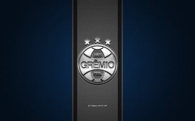 Gremio FC, Brazilian football club, Serie A, Silver logo, Blue carbon fiber background, football, Porto Alegre, Brazil, Gremio logo