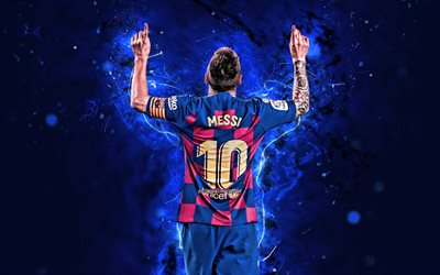 4k, Lionel Messi, 2019, new uniform, Barcelona FC, back view, argentinian footballers, FCB, football stars, La Liga, Messi, neon lights, LaLiga, Messi back view, Spain, Barca, soccer, Leo Messi