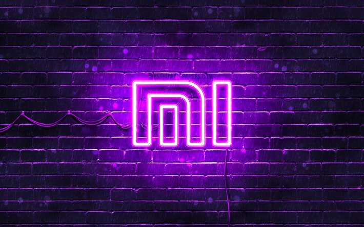 Download Wallpapers Xiaomi Violet Logo 4k Violet Brickwall Xiaomi Logo Brands Xiaomi Neon Logo Xiaomi For Desktop Free Pictures For Desktop Free