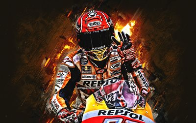 Marc Marquez, spanish motorcycle racer, Repsol Honda Team, MotoGP, orange stone background, creative art
