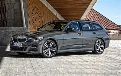 2020, BMW 3 Series Touring, G21, exterior, front view, gray station wagon, new gray BMW 3, German cars, BMW