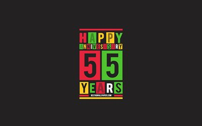 55th Anniversary, Anniversary Flat Background, 55 Years Anniversary, Creative Flat Art, 55th Anniversary sign, Colorful Abstraction, Anniversary Background