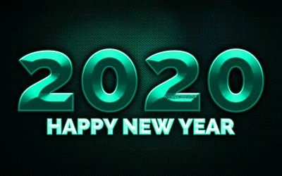 2020 turquoise 3D digits, 4k, turquoise metal grid background, Happy New Year 2020, 2020 metal art, 2020 concepts, turquoise metal digits, 2020 on turquoise background, 2020 year digits