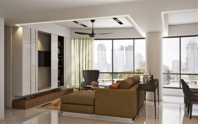 stylish apartments, living room, modern interior design, white gloss furniture, living room project