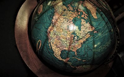 globe, North America, USA map, Map of Canada, USA on the globe, Map of US states, USA, Wooden globe