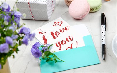 I love you, romantic letter, blue envelope, purple flowers, love concepts