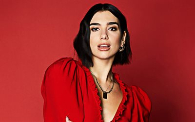 Dua Lipa, 2019, red dress, supercars, british celebrity, music stars, british singer, Dua Lipa photoshoot