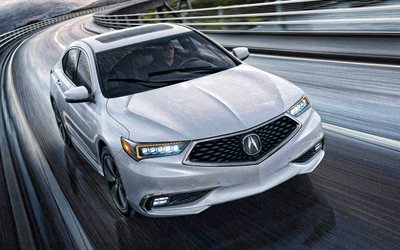 2020, Acura TLX, exterior, vista frontal, luxo sport limousine, branco novo TLX, carros japoneses, Acura