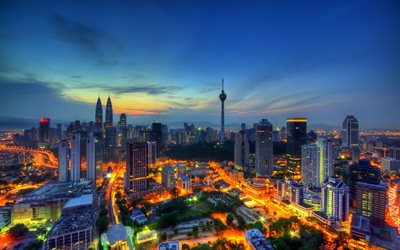 4k, Malaysia, Kuala Lumpur, sunset, nightscapes, modern buildings, skyscrapers, Asia
