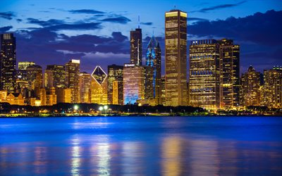 Chicago, Lake Michigan, skyscrapers, modern buildings, night, city lights, cityscape, Illinois, USA