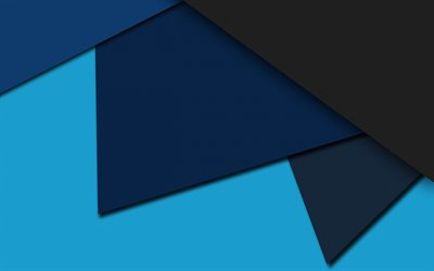 blue gray abstraction, material design, geometric shapes, triangles