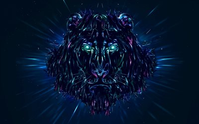 lion, neon lights, 3d art, predators, darkness