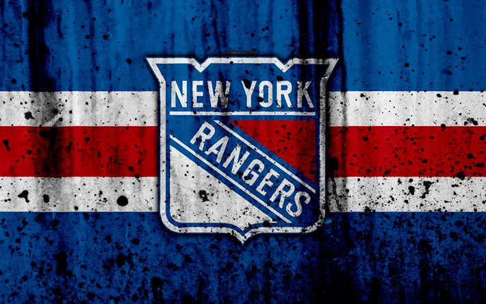 4k, New York Rangers, grunge, NHL, hockey, art, Eastern Conference
