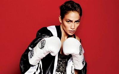 Jennifer Lopez, 4k, American singer, photoshoot, boxing gloves, portrait, make-up, beautiful woman, J Lo