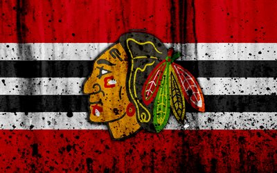 4k, Chicago Blackhawks, grunge, NHL, hockey, art, Western Conference, USA, logo, stone texture, Central Division