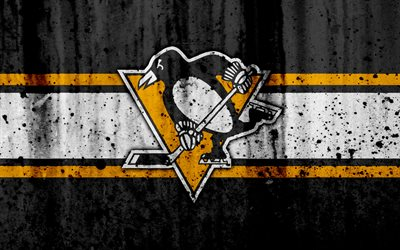 4k, Pittsburgh Penguins, grunge, NHL, hockey, art, Eastern Conference, USA, logo, stone texture, Metropolitan Division