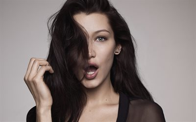Bella Hadid, American fashion model, portrait, 4k, brunette photoshoot