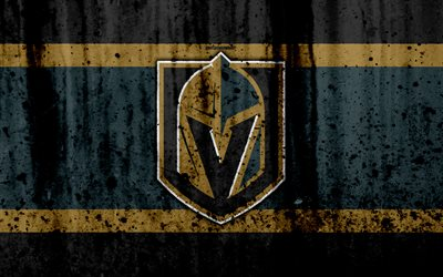 4k, Vegas Golden Knights, grunge, NHL, hockey, art, Western Conference, USA, logo, stone texture, Pacific Division