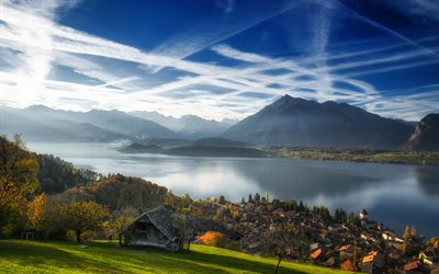 Lake Thun, Bernese Alps, autumn, mountain landscape, lake, morning, Switzerland, Bernese Oberland