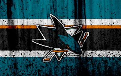 4k, San Jose Sharks, grunge, NHL, hockey, art, Western Conference, USA, logo, stone texture, Pacific Division