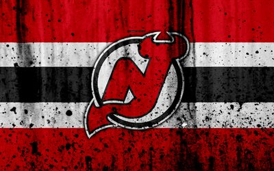 4k, New Jersey Devils, grunge, NHL, hockey, art, Eastern Conference, USA, logo, stone texture, Metropolitan Division