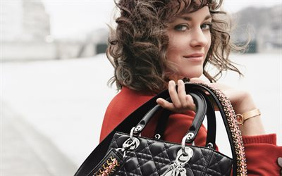 Marion Cotillard, smile, portrait, 4k, French actress, red coat, black female bag