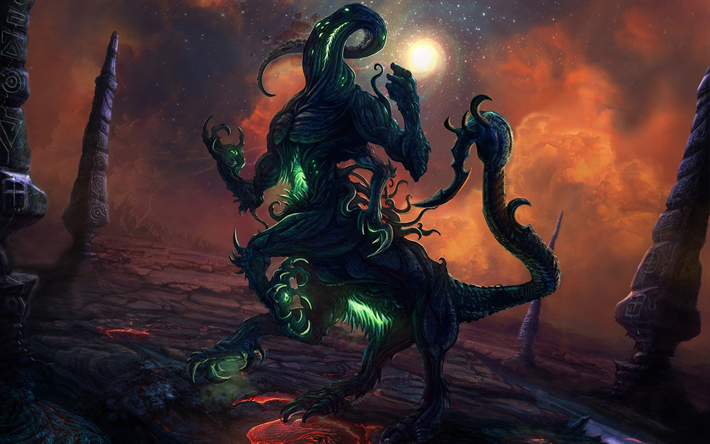 Centaur, monster, artwork, nebula, lava, galaxy