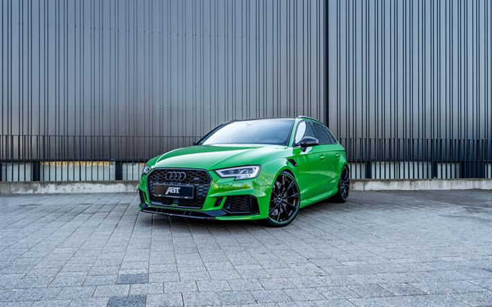 download wallpapers audi rs3 sportback 2018 abt green. Black Bedroom Furniture Sets. Home Design Ideas