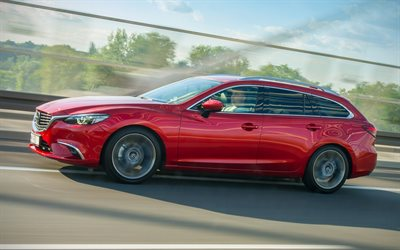 Mazda 6, 2019, red station wagon, side view, new red, japanese cars, Mazda