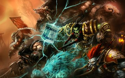 Thrall, Rexxar, battle, WoW characters, monsters, World of Warcraft, artwork, WoW