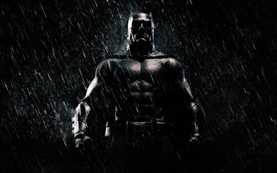 Batman, art, superhero, night, rain, The Dark Knight