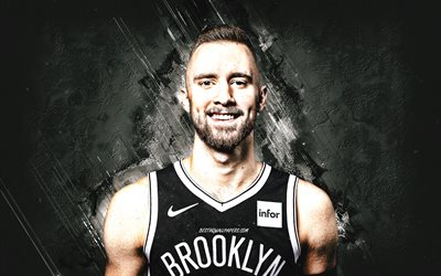 Dzanan Musa, Brooklyn Nets, NBA, sfondo di pietra grigia, giocatore di basket bosniaco, basket, National Basketball Association