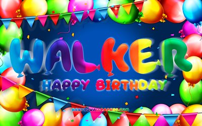 Happy Birthday Walker, 4k, colorful balloon frame, Walker name, blue background, Walker Happy Birthday, Walker Birthday, popular american male names, Birthday concept, Walker