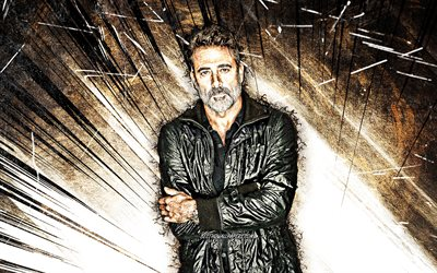 4k, Jeffrey Dean Morgan, grunge art, american actor, movie stars, american celebrity, brown abstract rays, Jeffrey Dean Morgan 4K