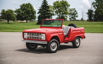 Ford Bronco, 1966, exterior, red pickup truck, retro cars, red Bronco, american cars, Ford