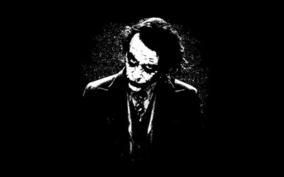 Joker, creative, supervillain, black backgrounds, minimal, artwork, Joker minimalism