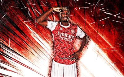 4k, Nicolas Pepe, grunge art, french footballers, Arsenal FC, red abstract rays, soccer, Premier League, football, The Gunners, Nicolas Pepe Arsenal