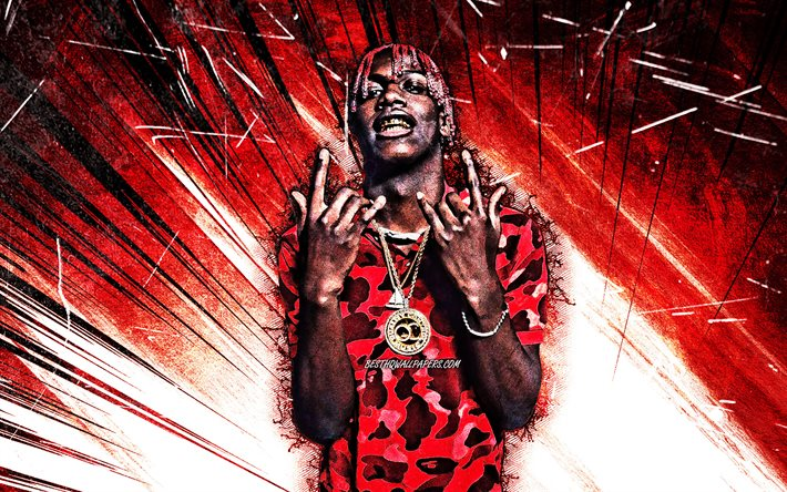4k, Lil Yachty, grunge art, american singer, music stars, Miles Parks McCollum, red abstract rays, american celebrity, superstars, Lil Yachty 4K