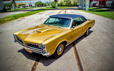Pontiac GTO, 4k, retro cars, 1966 cars, muscle cars, HDR, 1966 Pontiac GTO, american cars, Pontiac