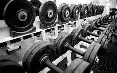 gym, dumbbells, old dumbbell, workout
