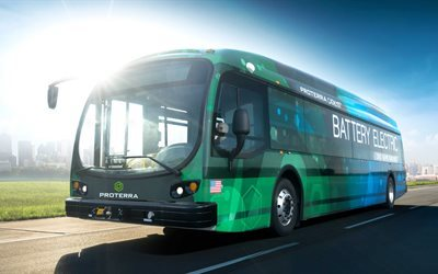 bus électrique, Proterra Catalyseur E2, vert de bus, transport en commun