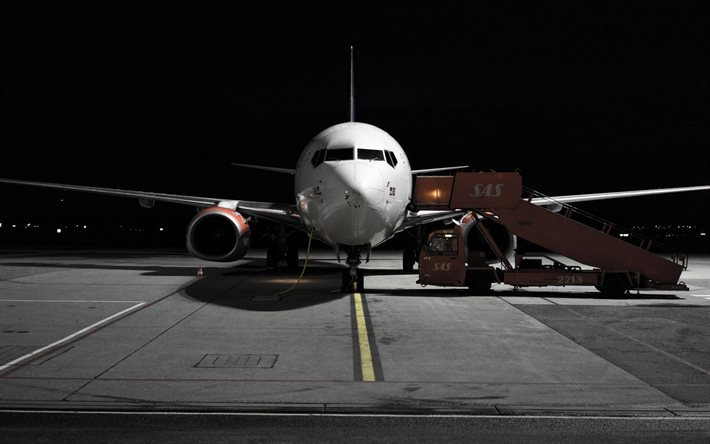 airport, passenger plane, landing, ramp, night