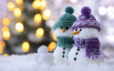 snowmen, Christmas, winter, knitted scarves