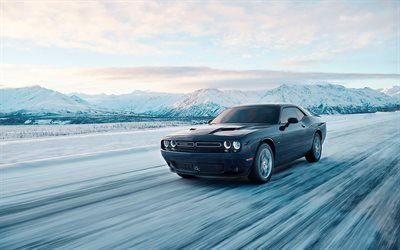 Dodge Challenger GT AWD, movement, 2017 cars, road, winter, black Dodge