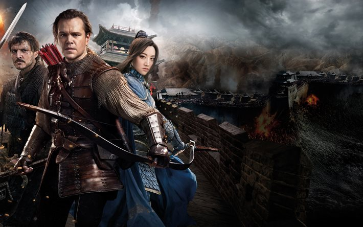 Great Wall, 2016, 4k, Matt Damon, Pedro Pascal, Jing Tian