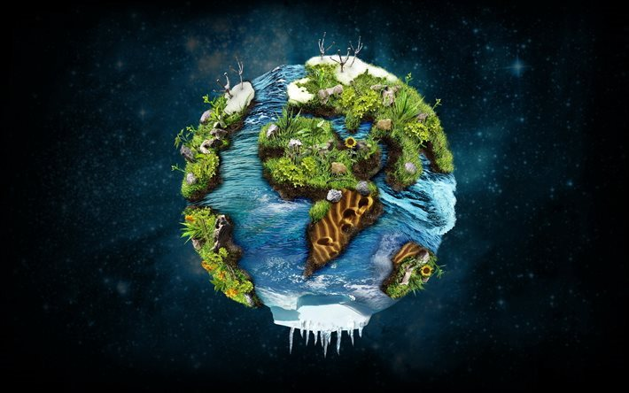 Earth, planet, ecology concept, 3d, art