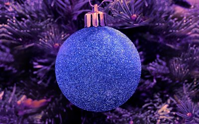 christmas ball, 4k, close-up, Happy New Year, Merry Christmas, purple decorations, xmas tree, christmas, New Year, christmas decorations