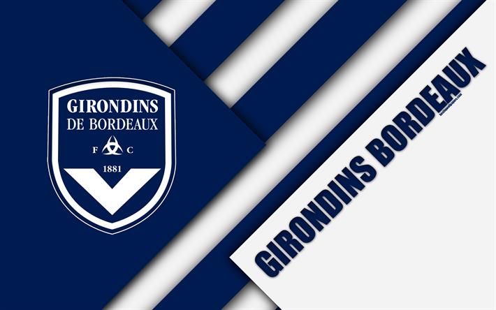 Скачать обои FC Girondins de Bordeaux, 4k, material design ...