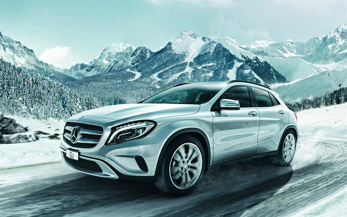 download wallpapers mercedes benz gla 2018 new cars compact suv silver gla winter snow. Black Bedroom Furniture Sets. Home Design Ideas