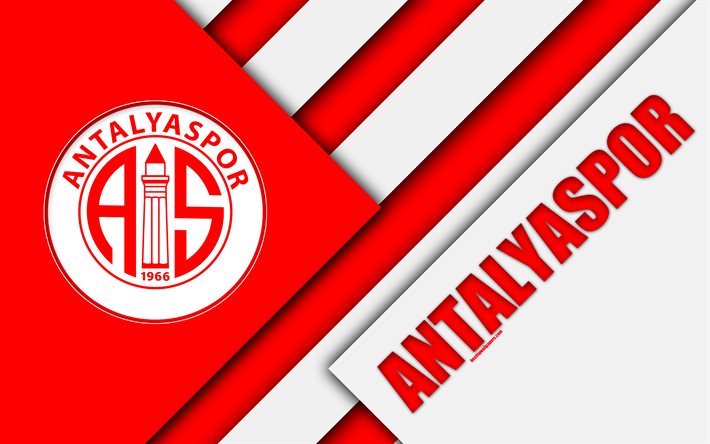 Download Wallpapers Antalyaspor FC Emblem White Red